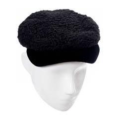 Hattie Carnegie Vintage Hat I Magnin Curly Lambswool Velvet Cap Newsboy 1930s