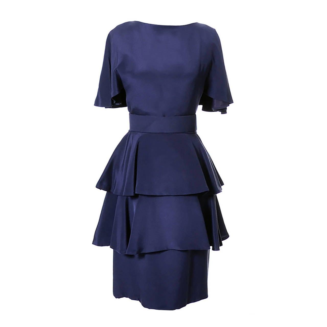 Scaasi Neiman Marcus Vintage Dress Royal Blue Silk 1980s at 1stdibs