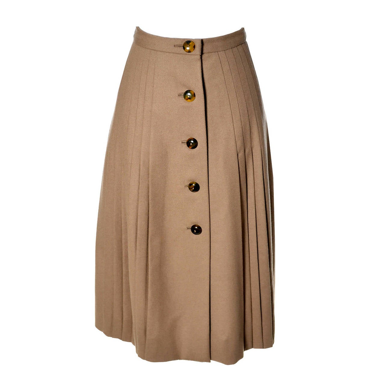 Valentino Vintage Skirt Older Label Boutique Camel Wool 1960s 1