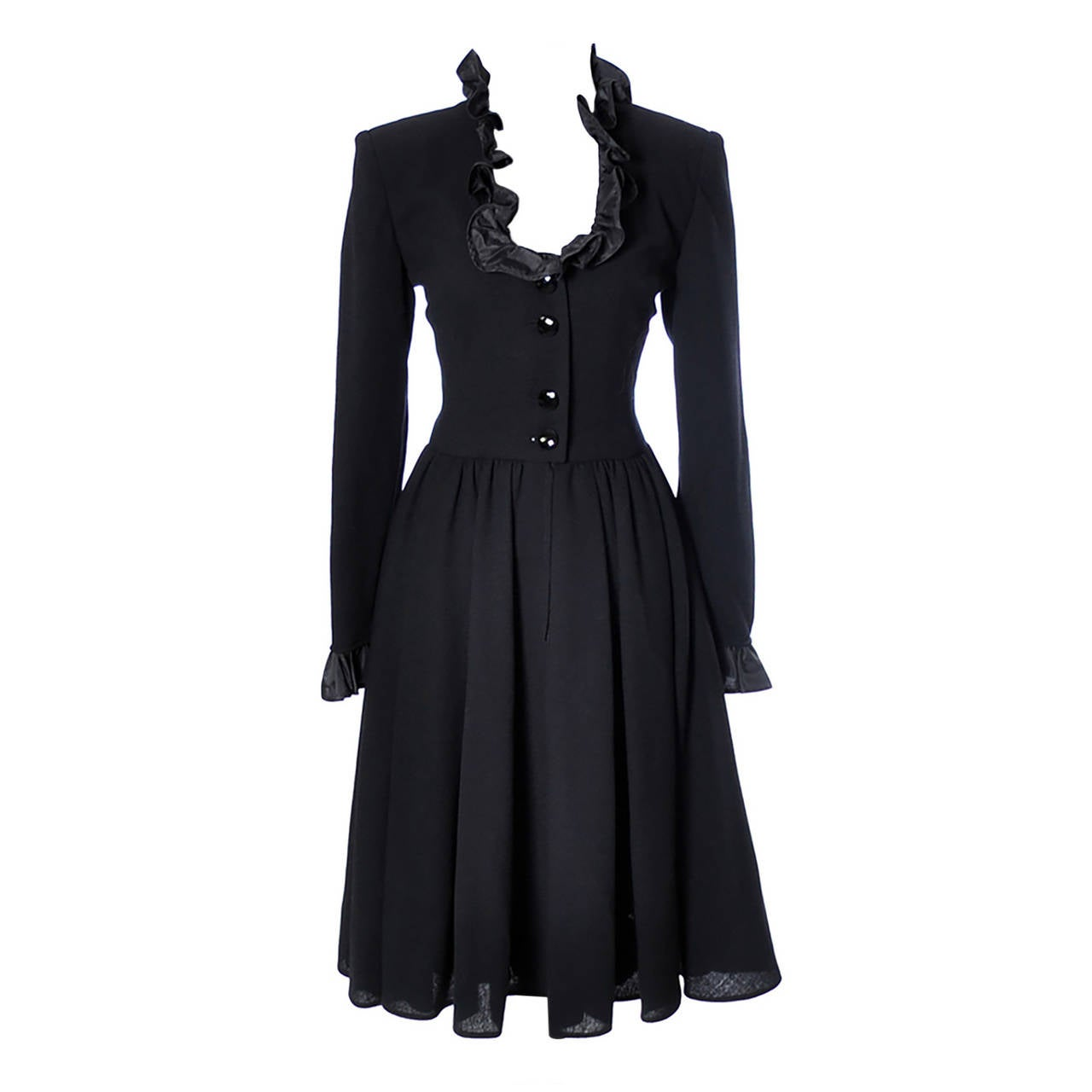 Vintage Valentino Black Wool Crepe Dress w/ Ruffled Taffeta Trim Size 6 For Sale