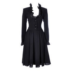 Vintage Valentino Black Wool Crepe Dress w/ Ruffled Taffeta Trim Size 6