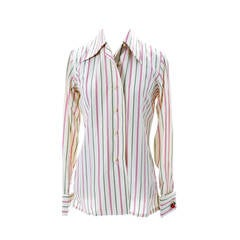 Early Valentino Boutique Vintage Silk Blouse Stripes Valentino Cherry Cufflink