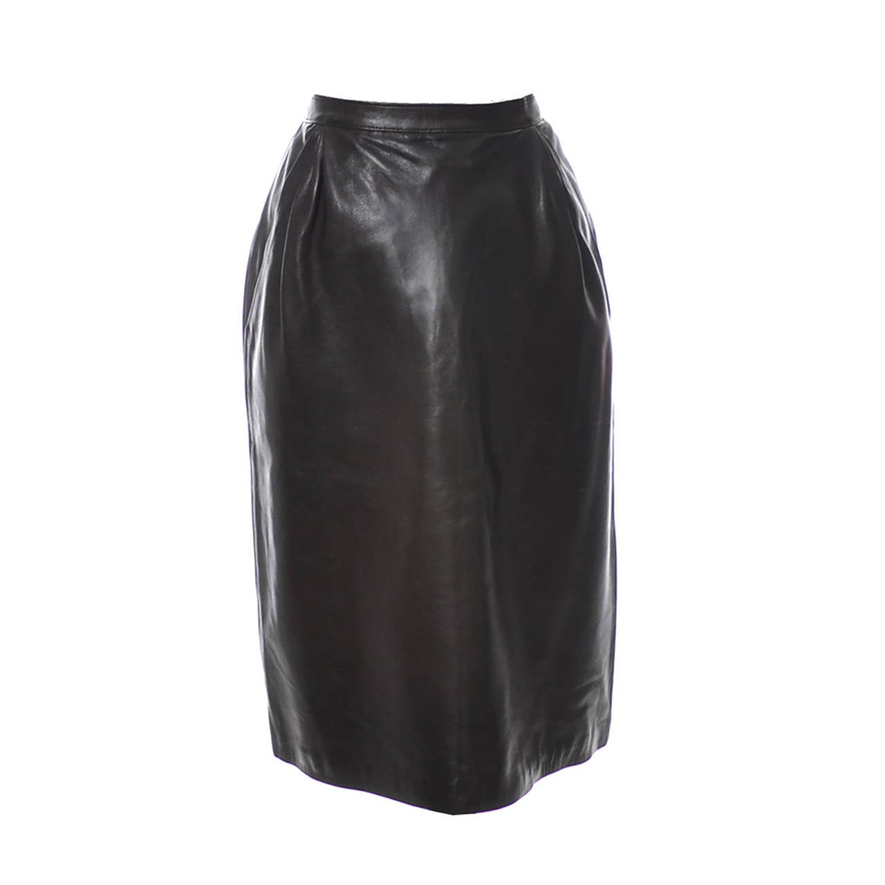 1970s Vintage YSL Yves Saint Laurent Chocolate Brown Leather Skirt  For Sale
