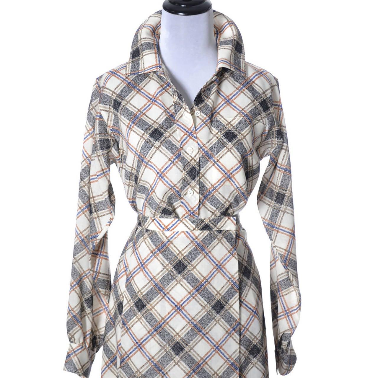 Gray 1970s YSL Vintage Yves Saint Laurent Rive Gauche 2 pc Dress Wrap Skirt & Blouse For Sale