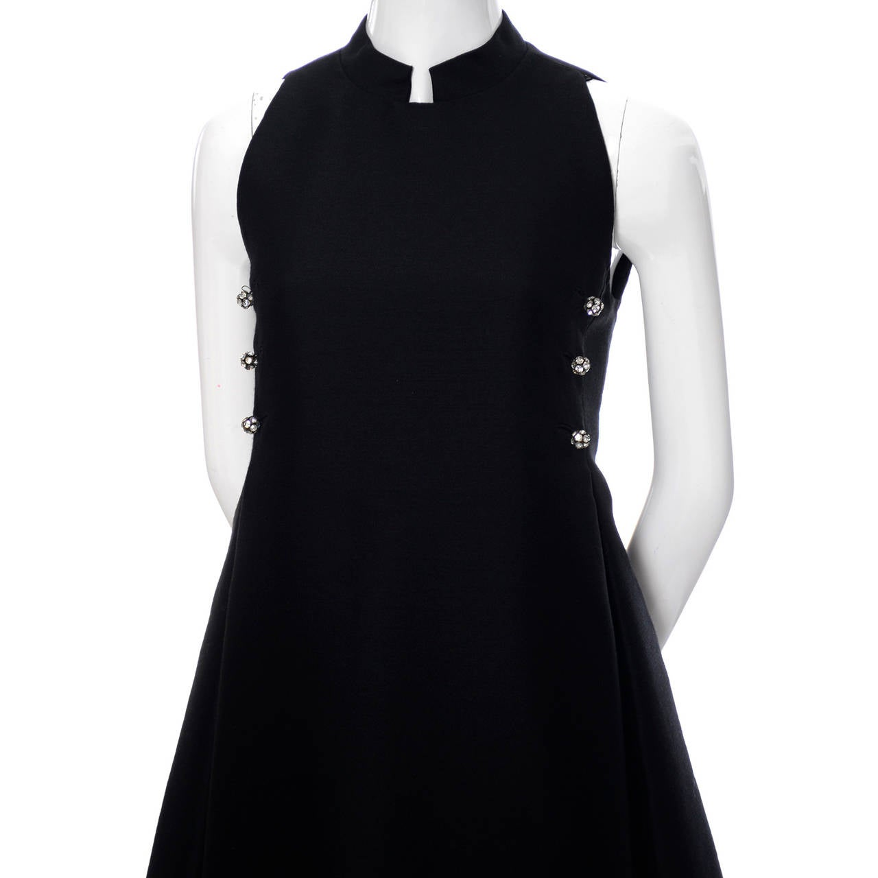 Geoffrey Beene 1960s Vintage Midi Dress Mod Black Cocktail Baby Doll Rhinestones For Sale 2