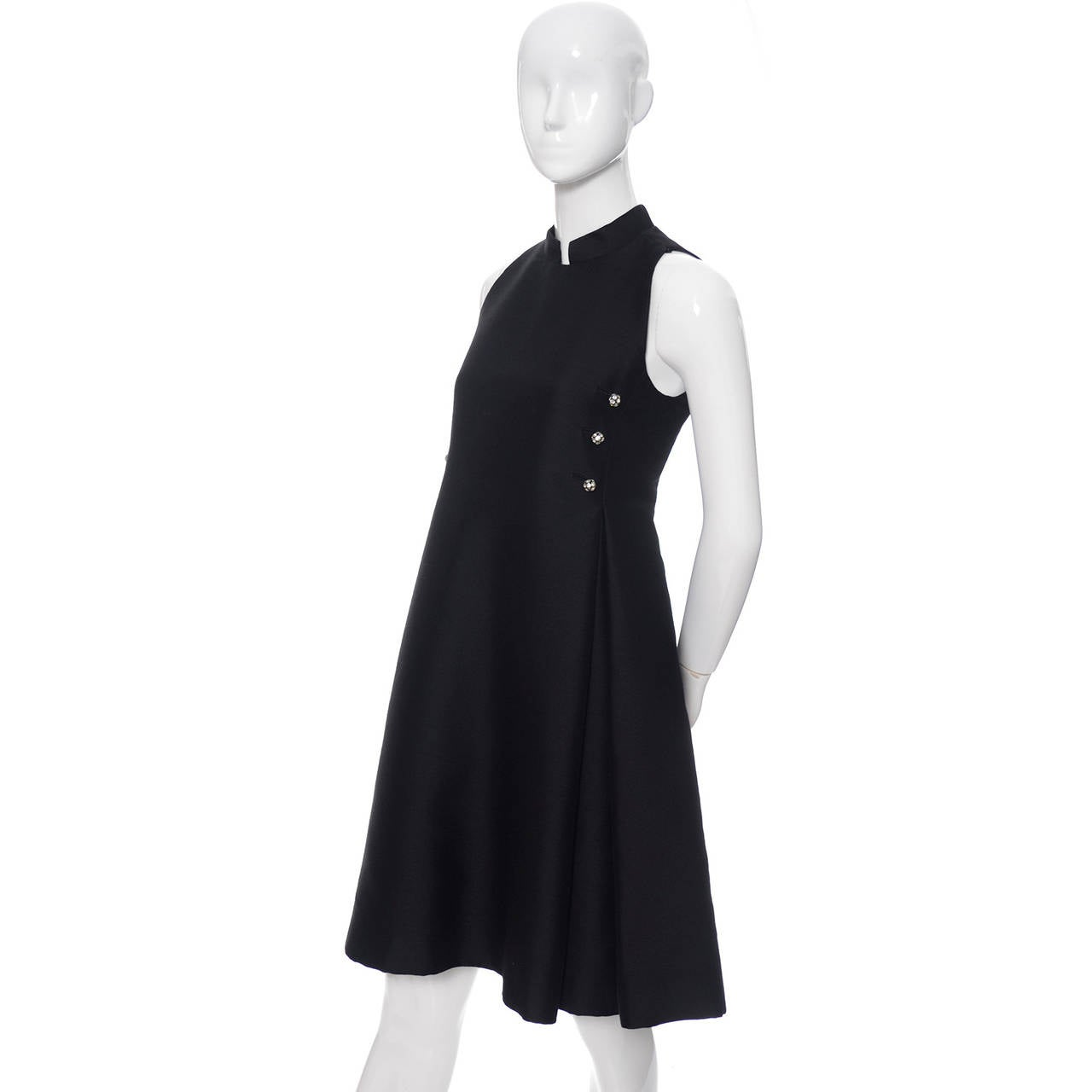Geoffrey Beene 1960s Vintage Midi Dress Mod Black Cocktail Baby Doll Rhinestones In Excellent Condition For Sale In Portland, OR