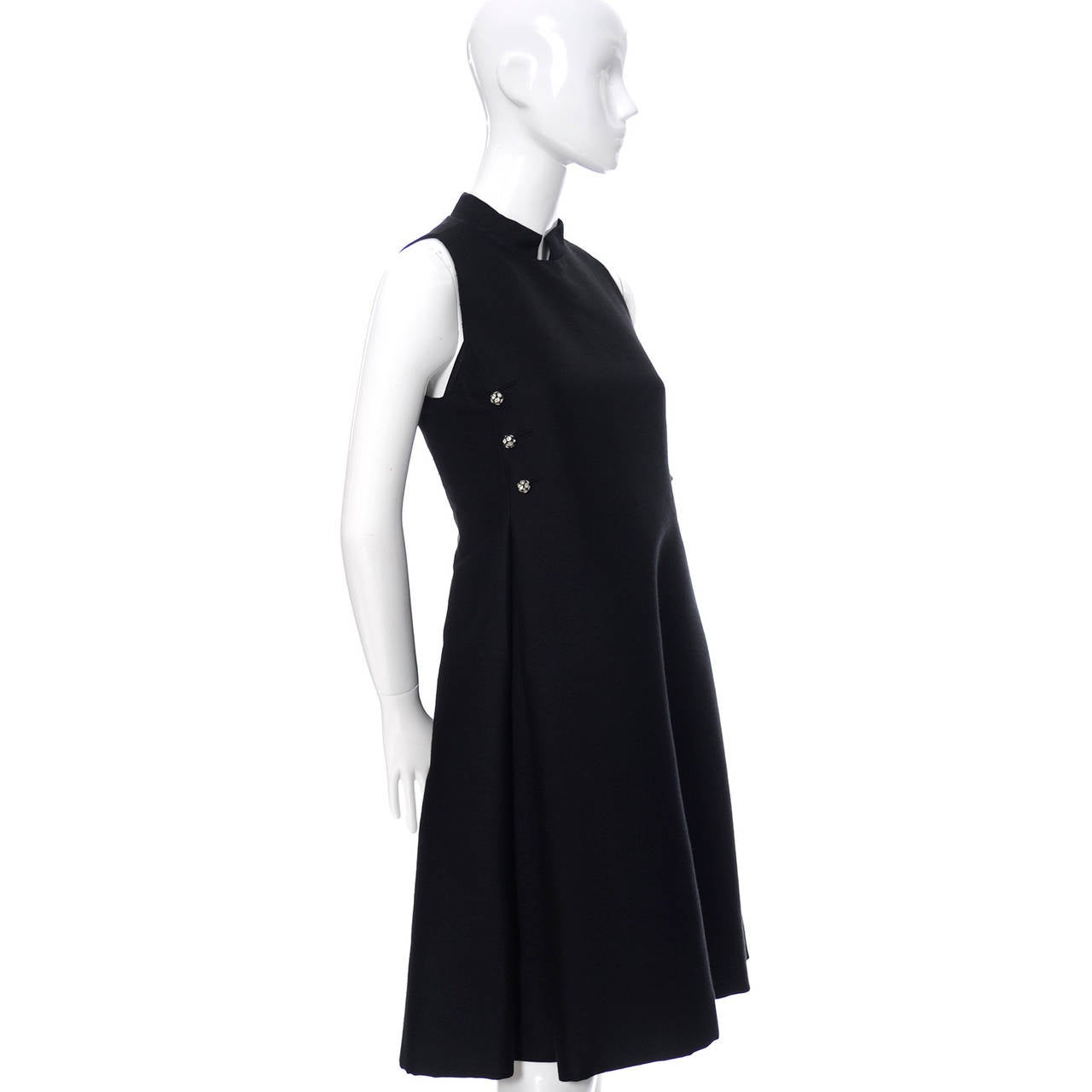 Women's Geoffrey Beene 1960s Vintage Midi Dress Mod Black Cocktail Baby Doll Rhinestones For Sale