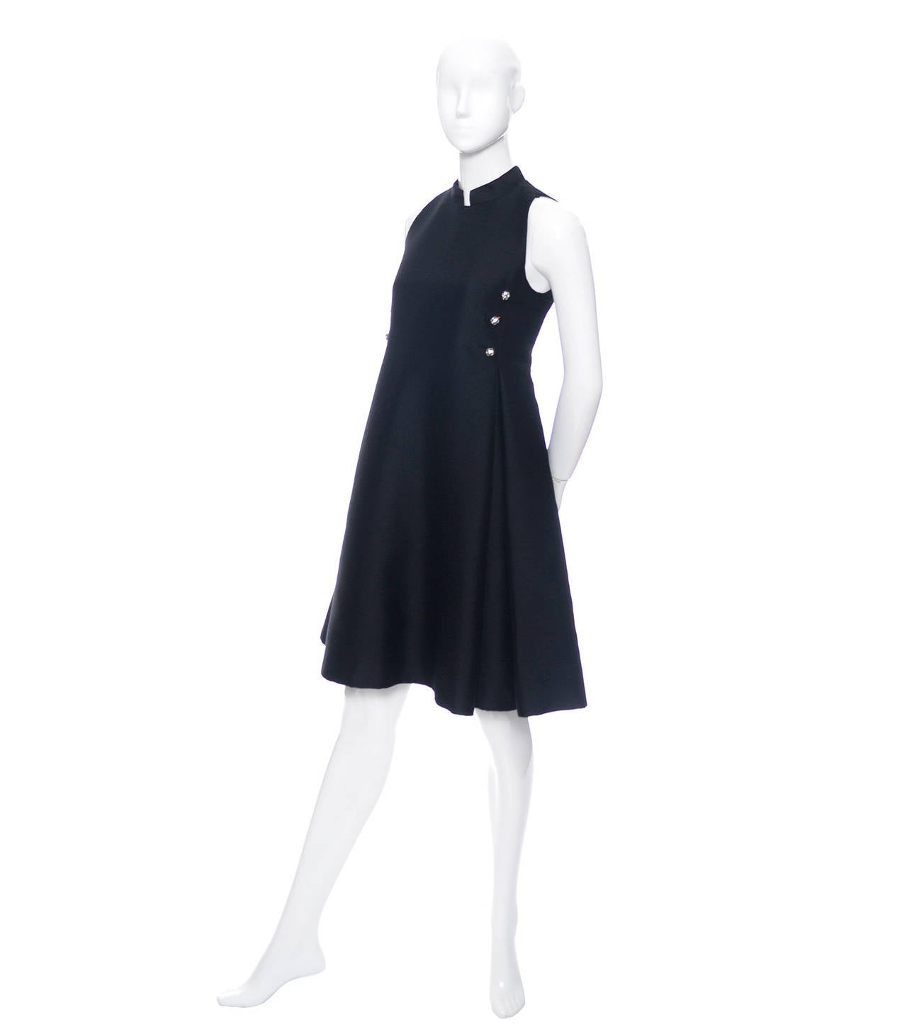 Geoffrey Beene 1960s Vintage Midi Dress Mod Black Cocktail Baby Doll Rhinestones For Sale 4