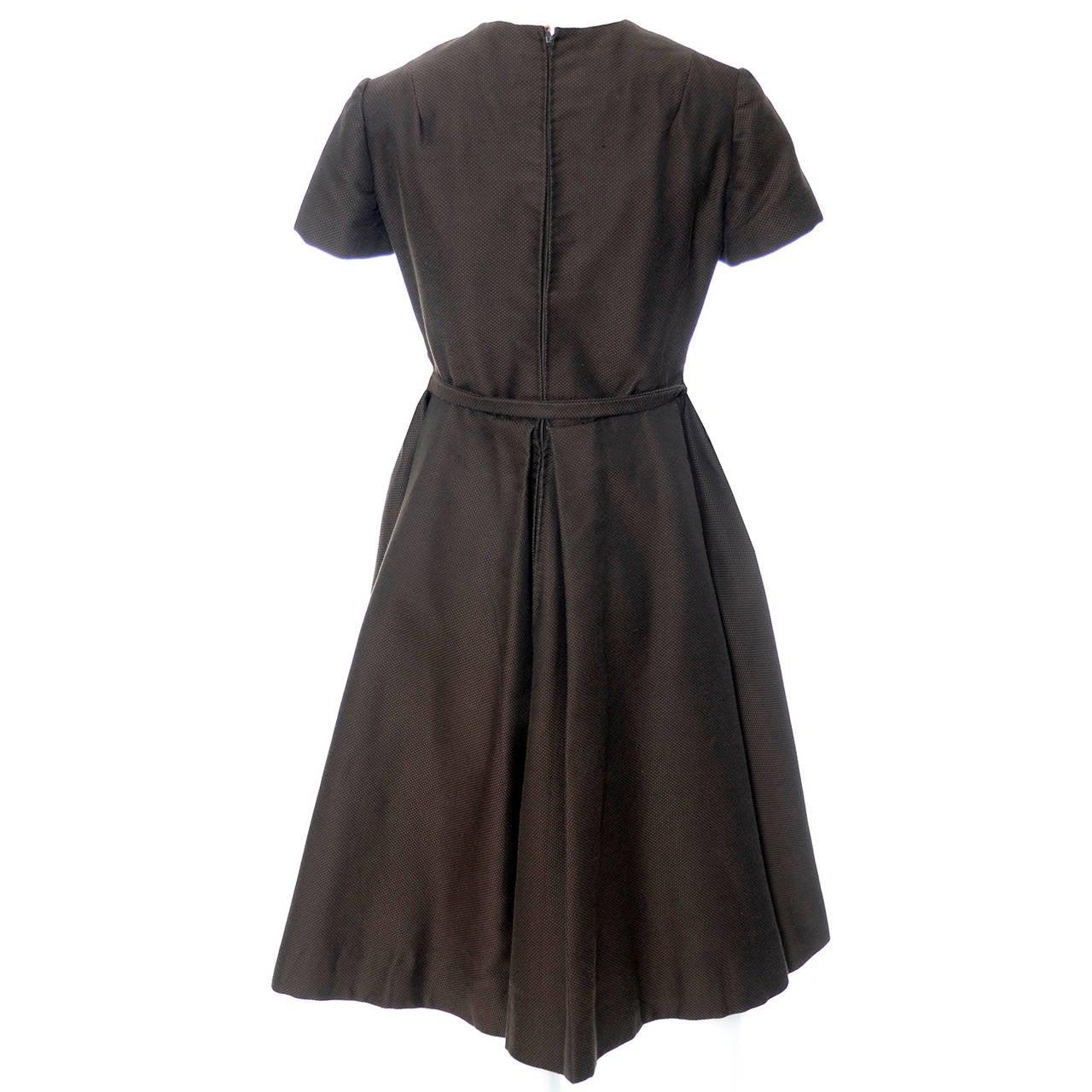 Chocolate Brown Geoffrey Beene 1960s Mod Vintage Dress Pockets Belt For Sale 2