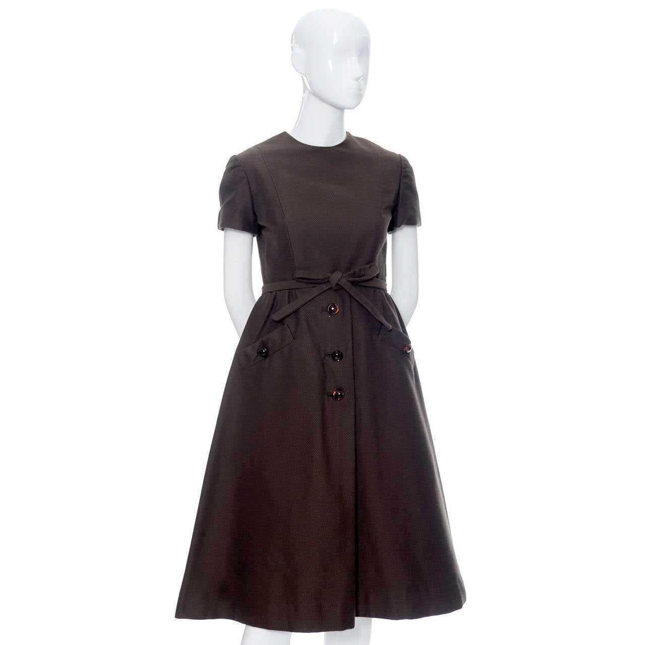 Chocolate Brown Geoffrey Beene 1960s Mod Vintage Dress Pockets Belt In Good Condition For Sale In Portland, OR