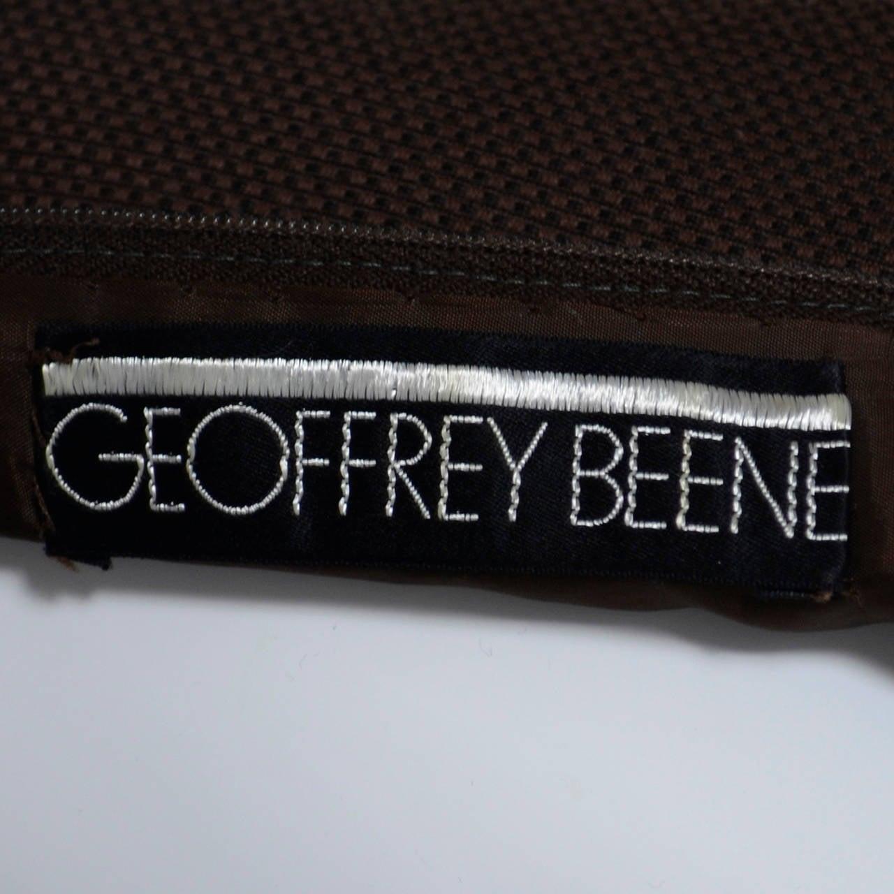 Chocolate Brown Geoffrey Beene 1960s Mod Vintage Dress Pockets Belt 8