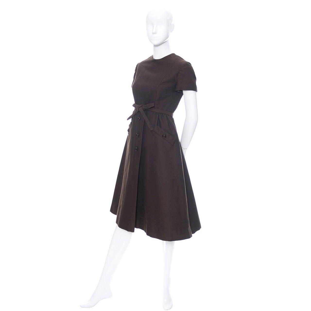 Black Chocolate Brown Geoffrey Beene 1960s Mod Vintage Dress Pockets Belt For Sale