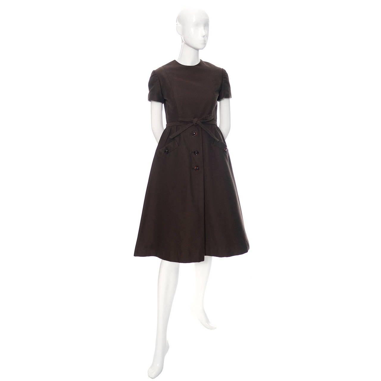 Chocolate Brown Geoffrey Beene 1960s Mod Vintage Dress Pockets Belt For Sale 1