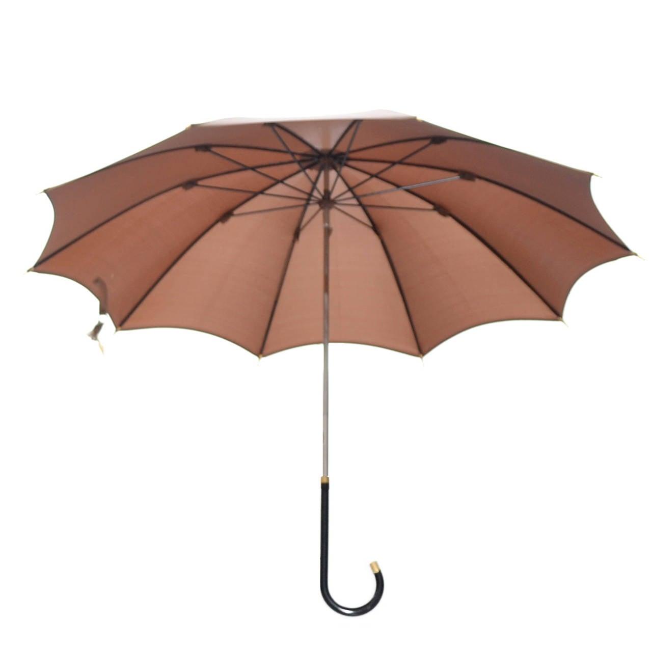 Dead Stock New Vintage Gucci Umbrella 1970s Brown Italy 4