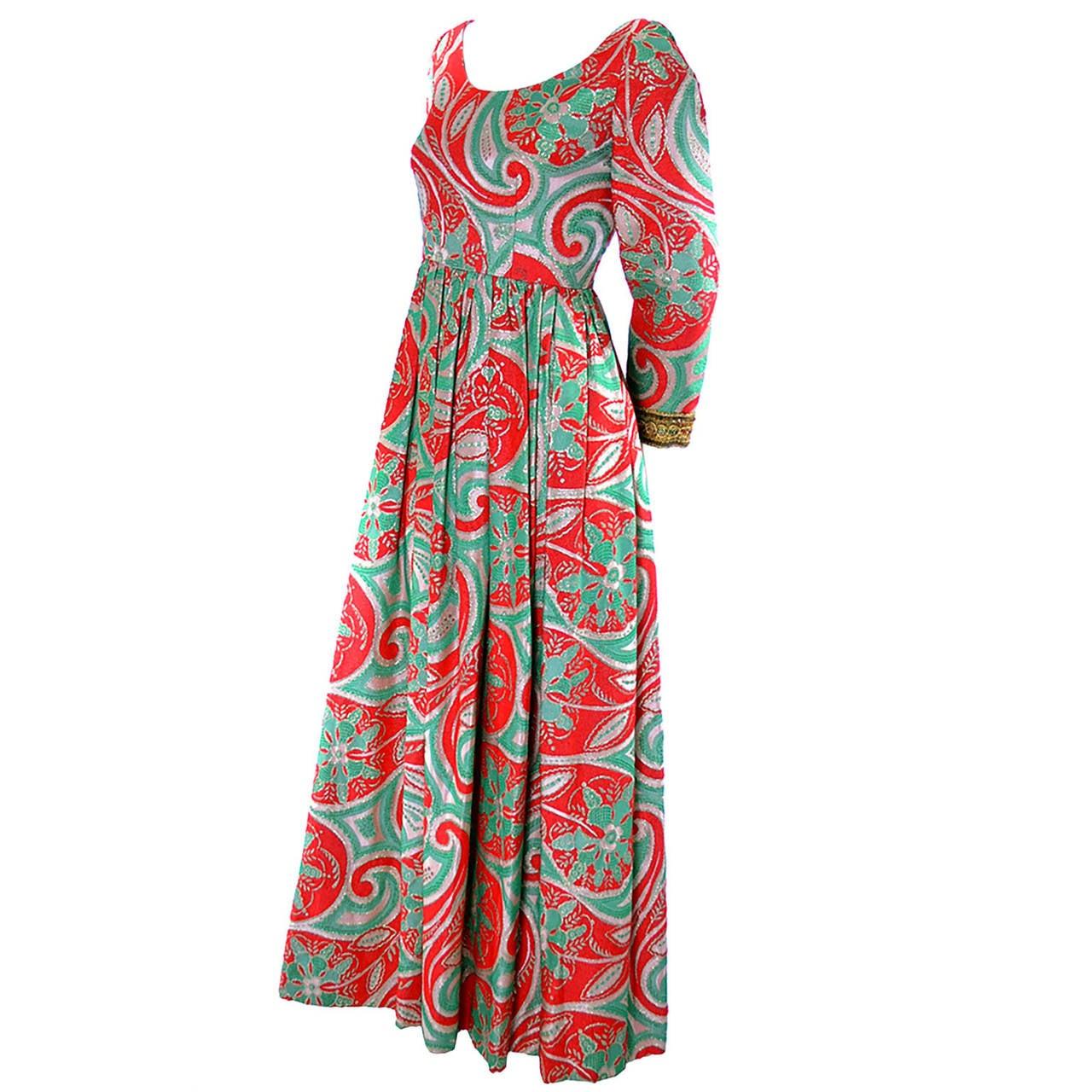 Oscar de la Renta Dress Boutique Vintage Dress 1960s Metallic Paisley Maxi For Sale