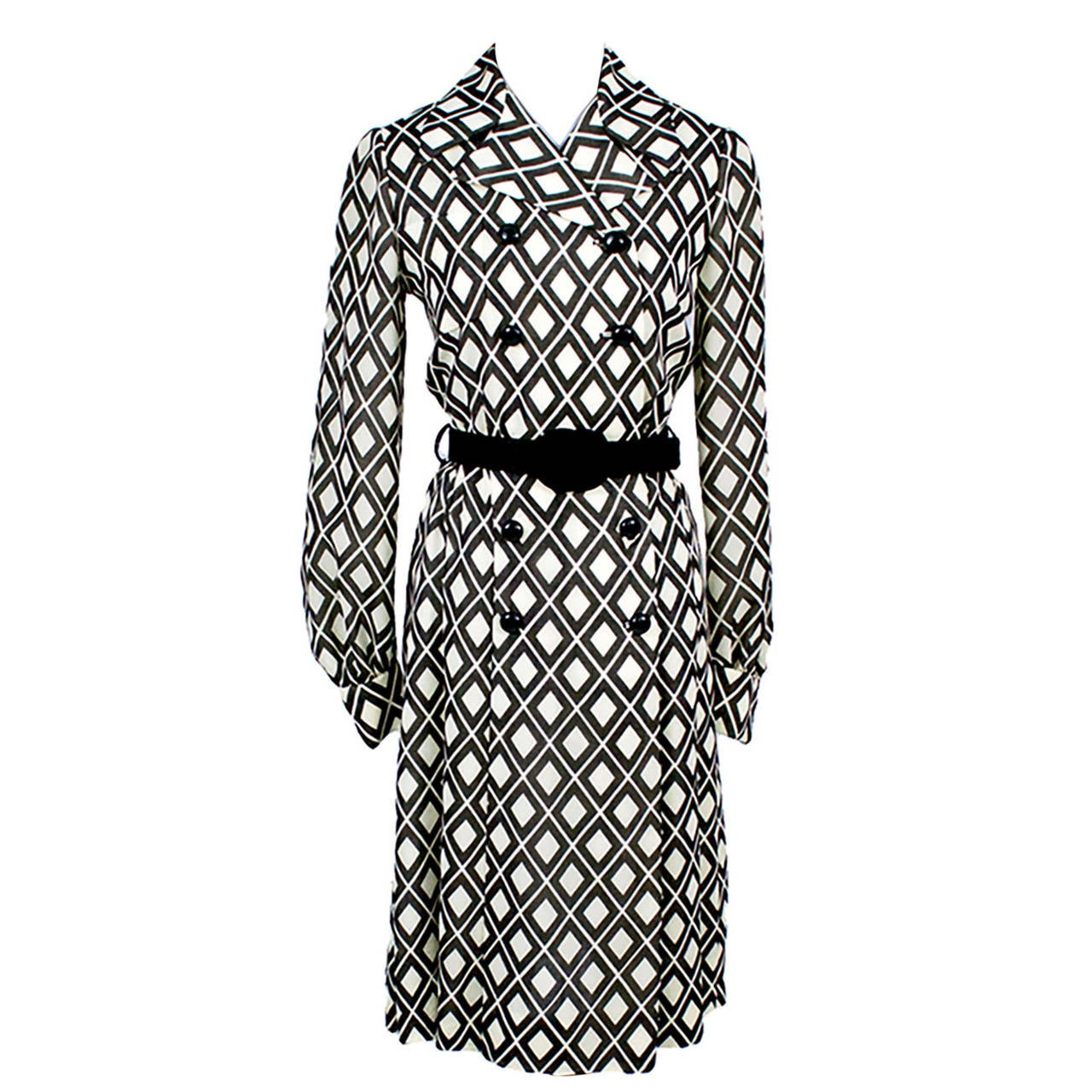 Rare Early Valentino Vintage Dress with Belt in Brown and White
