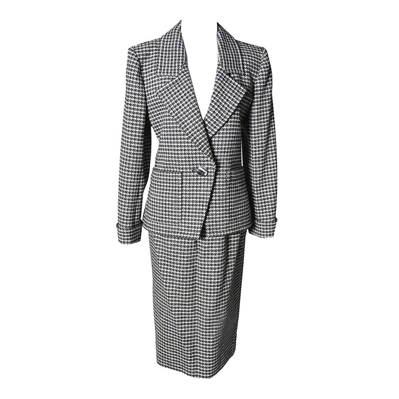 YSL Vintage Suit Houndstooth Wool Skirt Blazer Yves Saint Laurent Rive Gauche 1