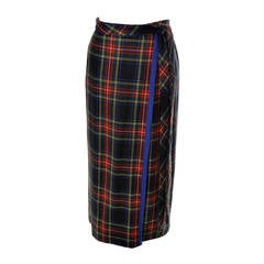 YSL Vintage Skirt Yves Saint Laurent Tartan Plaid Wool Rive Gauche Faux Wrap