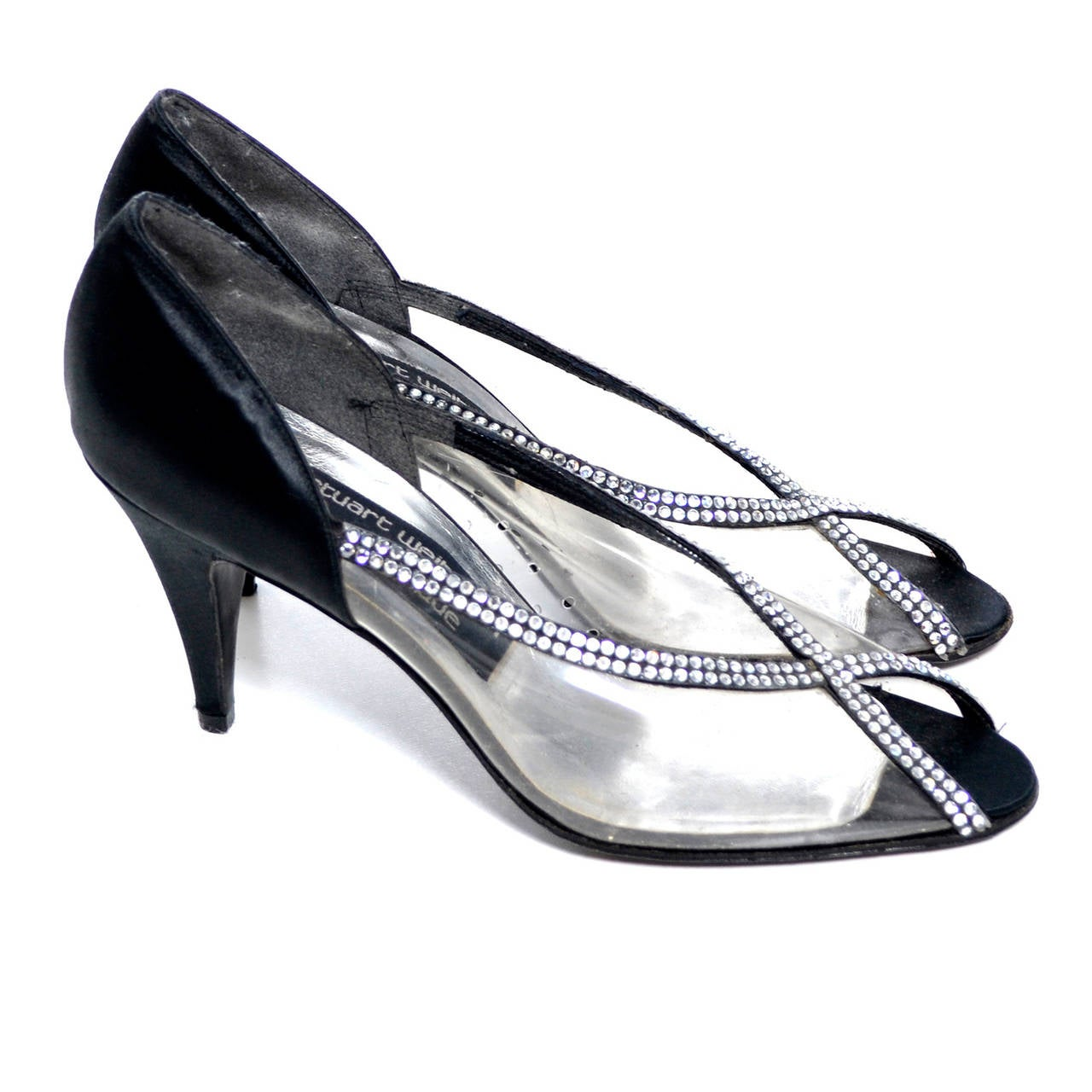 f565682a5 These beautiful vintage black satin shoes from Stuart Weitzman for  Martinique have never been worn.
