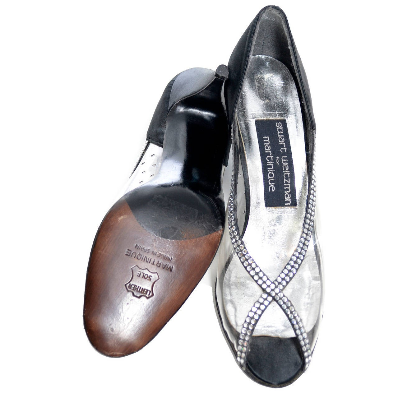 Women's Stuart Weitzman Size 7 New Vintage Black Satin Shoes With Crystals & Rhinestones For Sale