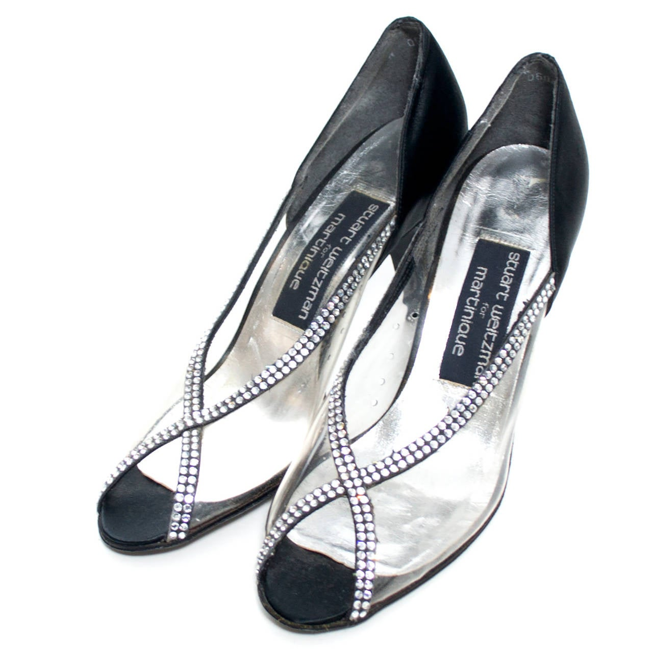 Gray Stuart Weitzman Size 7 New Vintage Black Satin Shoes With Crystals & Rhinestones For Sale