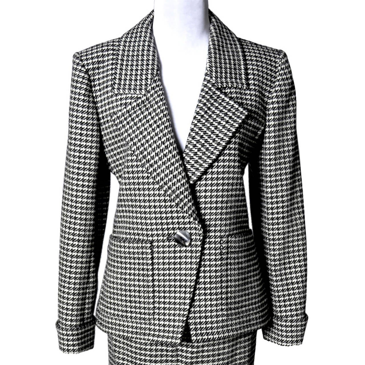 YSL Vintage Suit Houndstooth Wool Skirt Blazer Yves Saint Laurent Rive Gauche For Sale 3