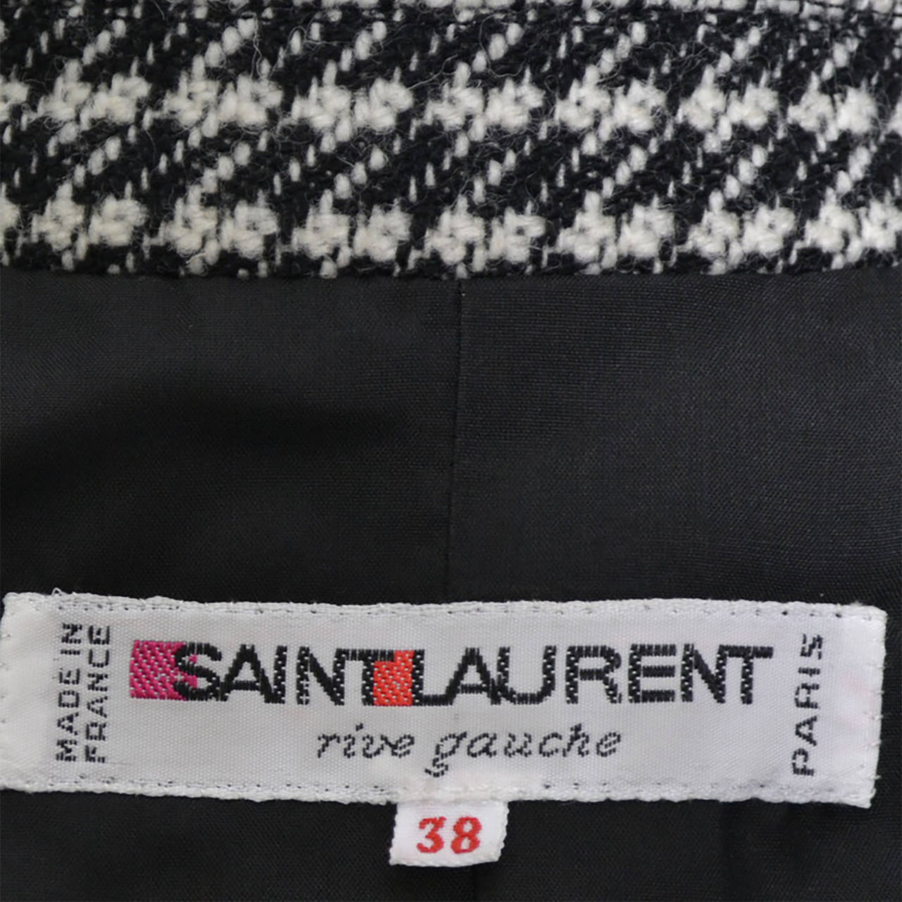 YSL Vintage Suit Houndstooth Wool Skirt Blazer Yves Saint Laurent Rive Gauche For Sale 7