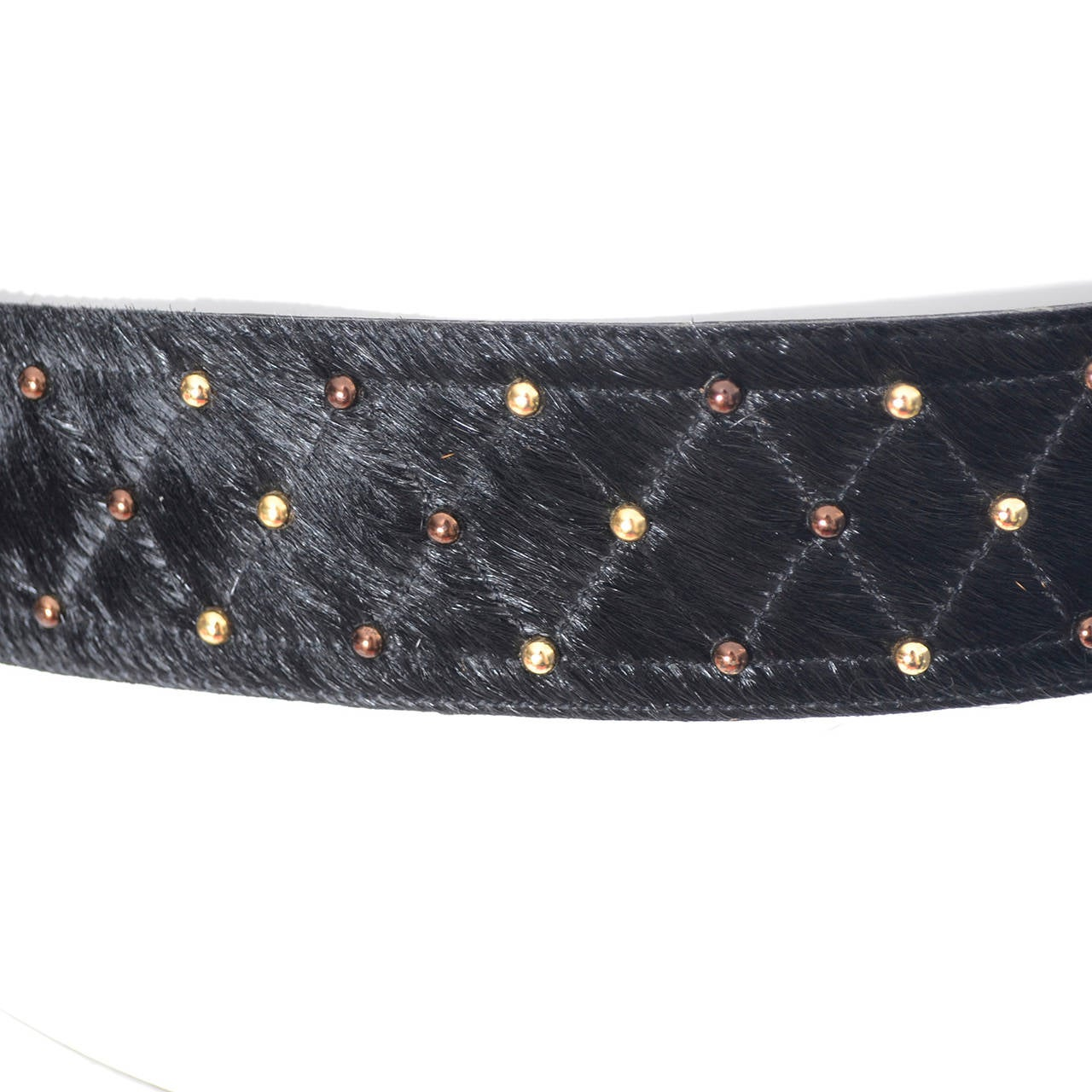 YSL Vintage Belt Yves Saint Laurent Studded Fur Ladies Belt Medium 5