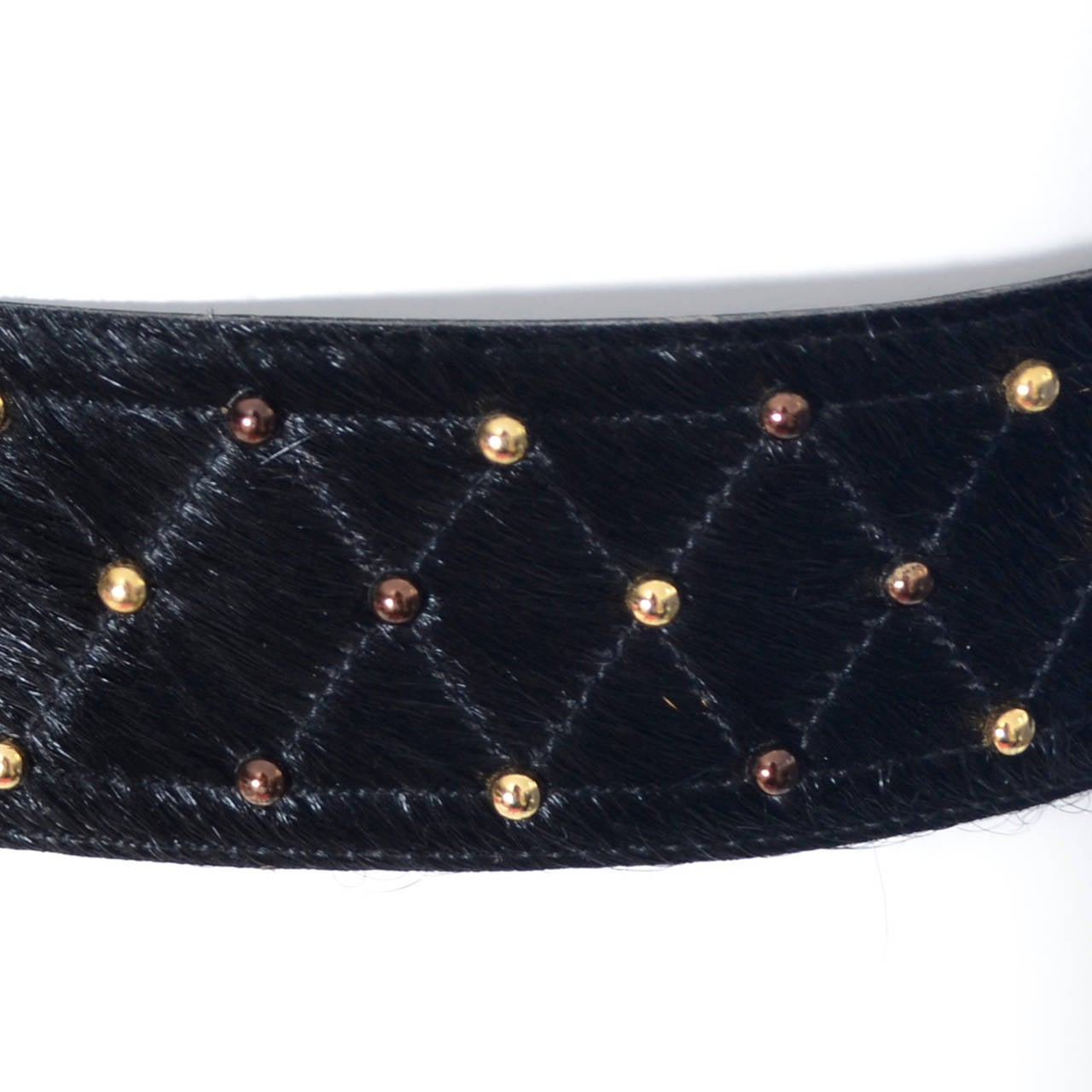YSL Vintage Belt Yves Saint Laurent Studded Fur Ladies Belt Medium 3