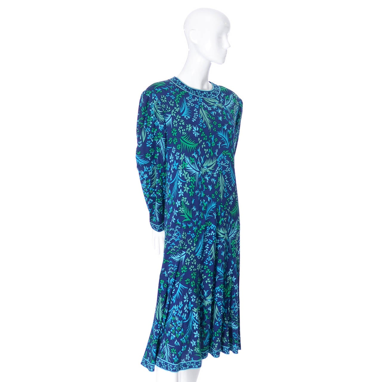 Women's Bessi Silk Jersey Floral 1970s Vintage Dress Belt Firenze Italia Blue For Sale