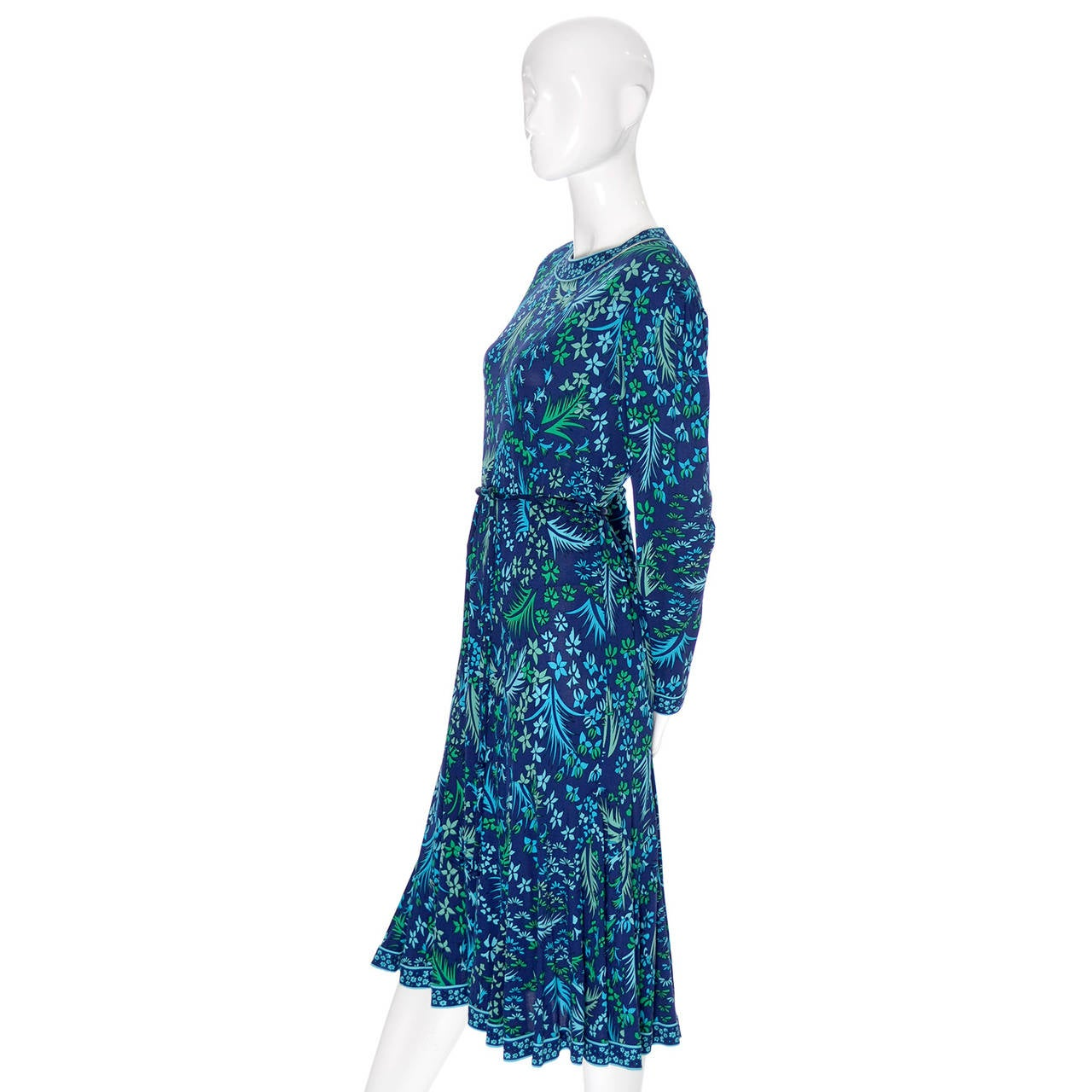 Bessi Silk Jersey Floral 1970s Vintage Dress Belt Firenze Italia Blue In Excellent Condition For Sale In Portland, OR