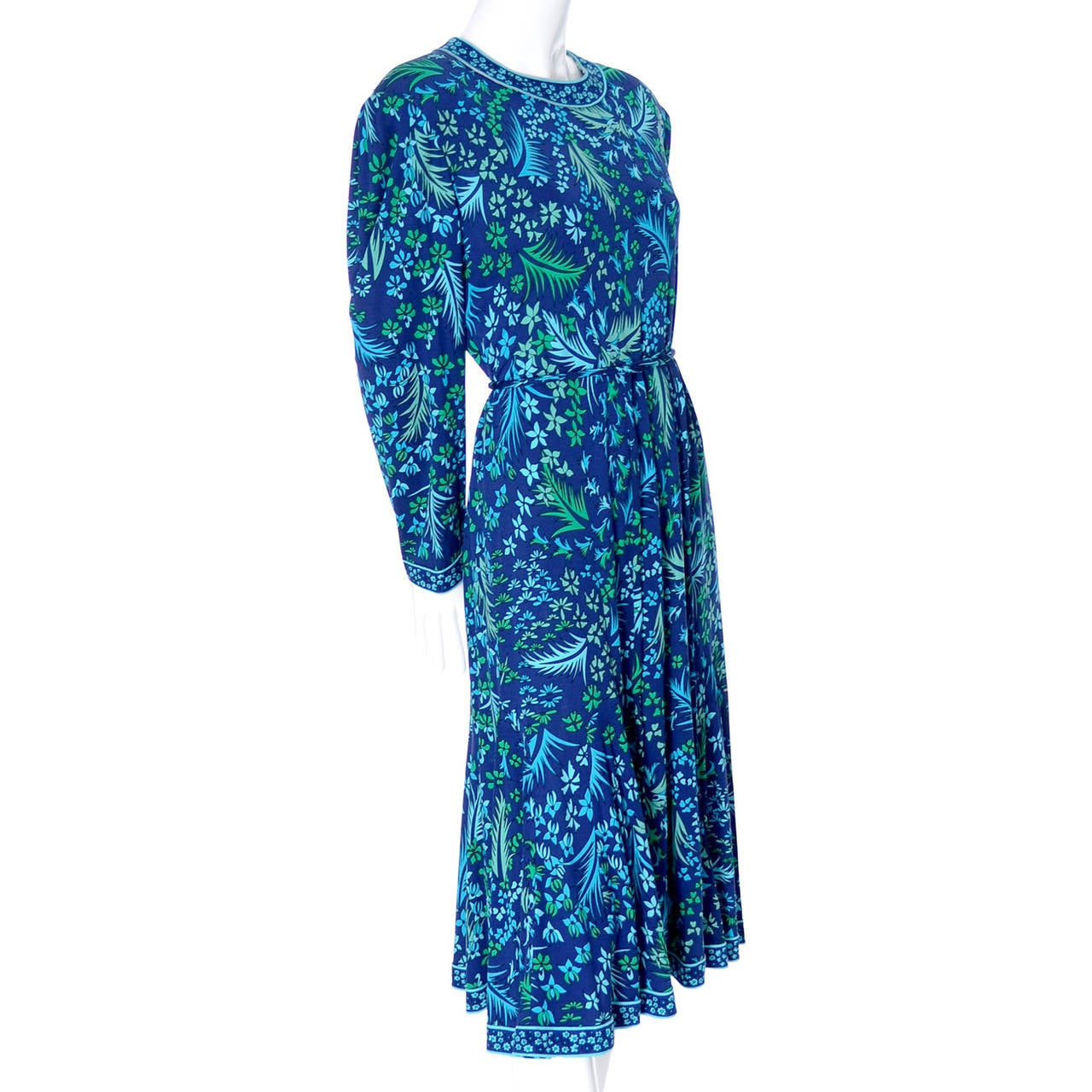 Bessi Silk Jersey Floral 1970s Vintage Dress Belt Firenze Italia Blue For Sale 1