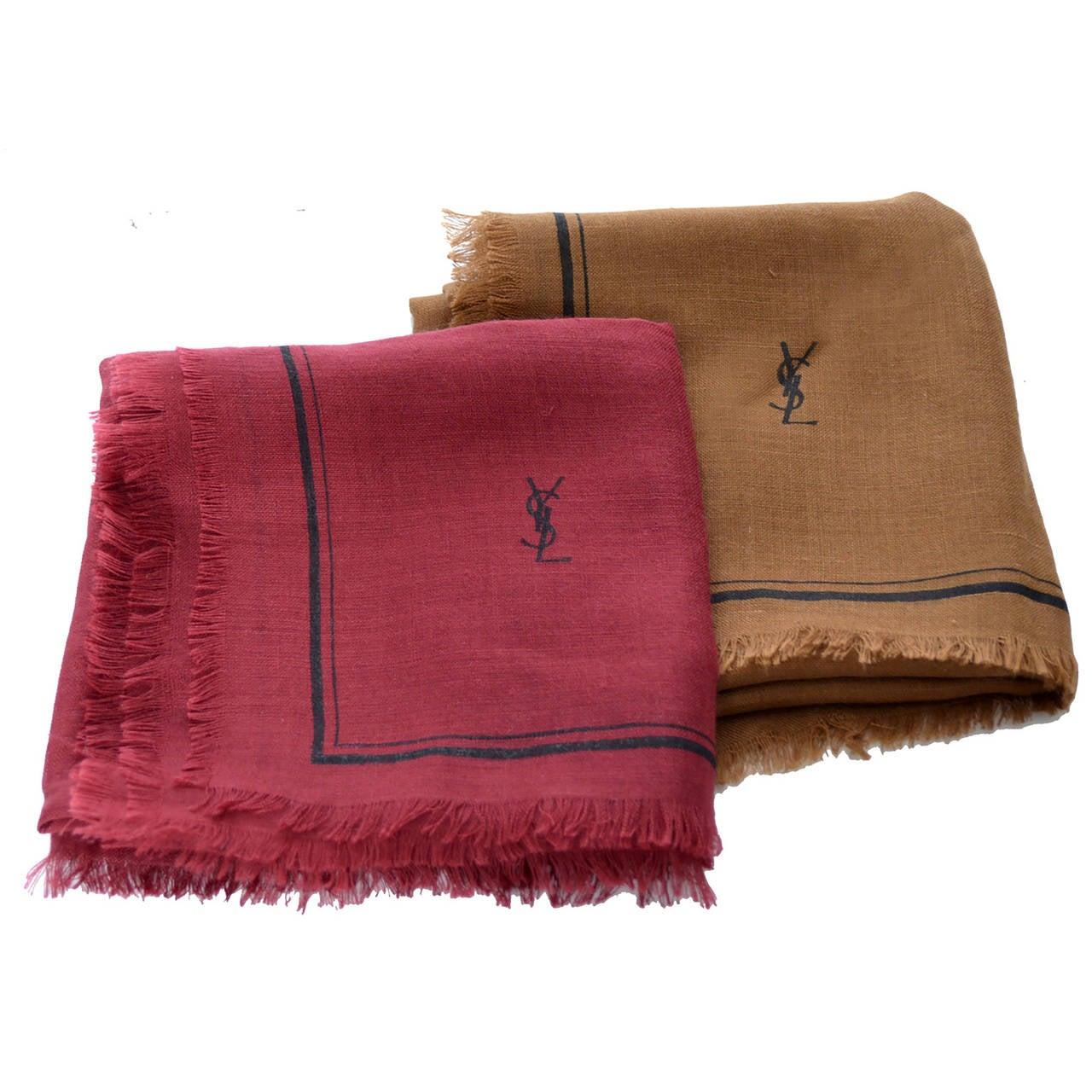 New Yves Saint Laurent 2 Vintage YSL Cashmere Silk Scarves France For Sale