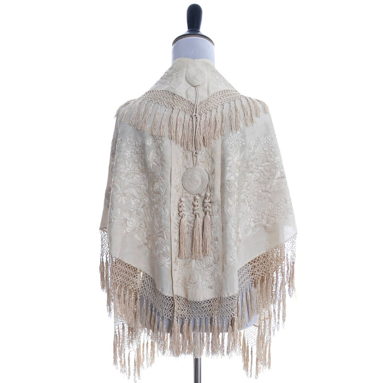 Ivory Edwardian Vintage Shawl Wrap Cape Fringe Antique Silk Embroidery Tassels 6