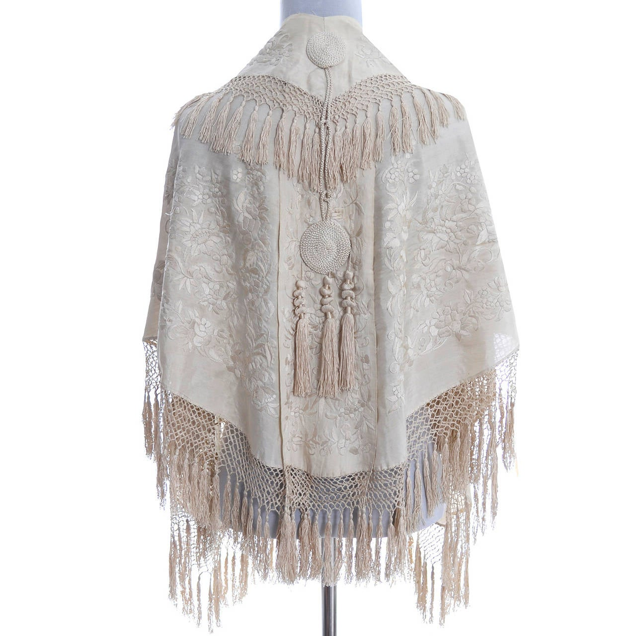 Ivory Edwardian Vintage Shawl Wrap Cape Fringe Antique Silk Embroidery Tassels 5