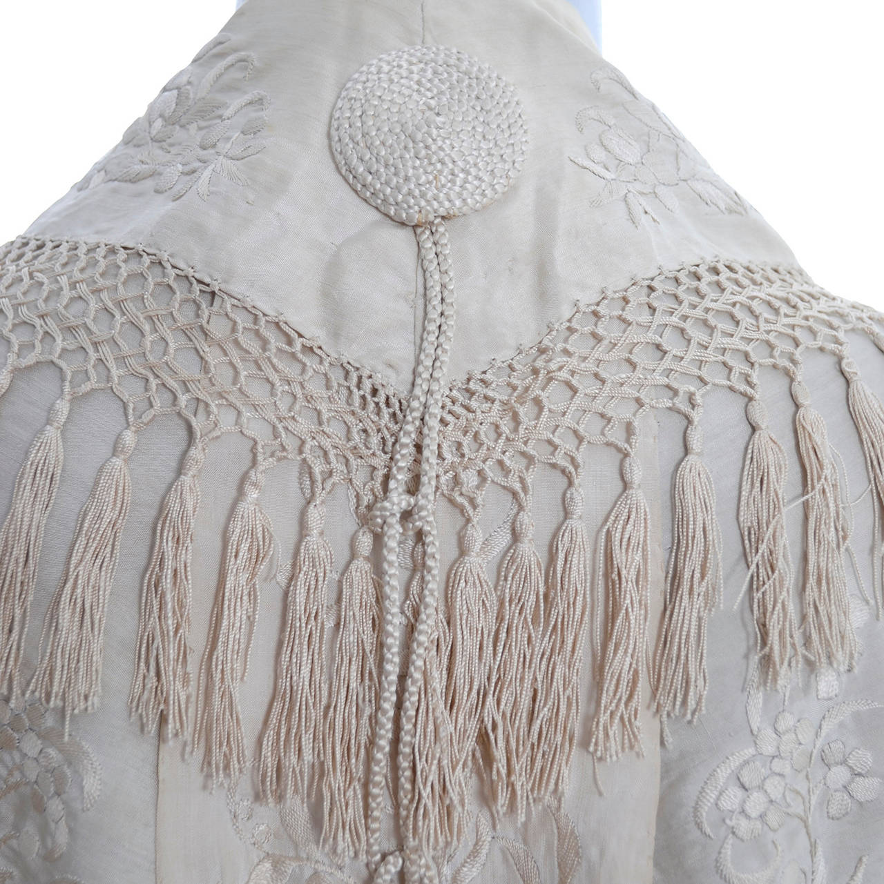 Ivory Edwardian Vintage Shawl Wrap Cape Fringe Antique Silk Embroidery Tassels 2