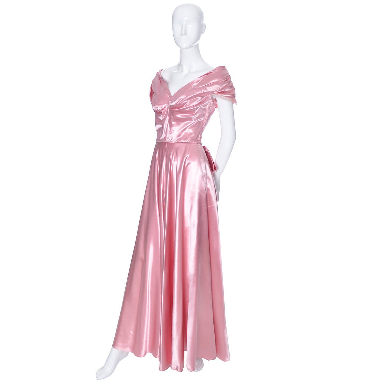 Emma Domb Formal Vintage Dress 1940s Slipper Satin Pink Evening Gown Bridal In Good Condition For Sale In Portland, OR