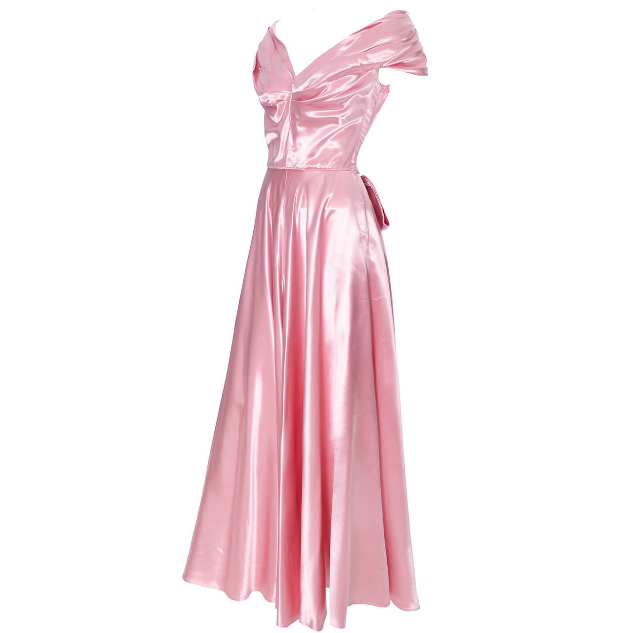 Emma Domb Formal Vintage Dress 1940s Slipper Satin Pink Evening Gown Bridal For Sale
