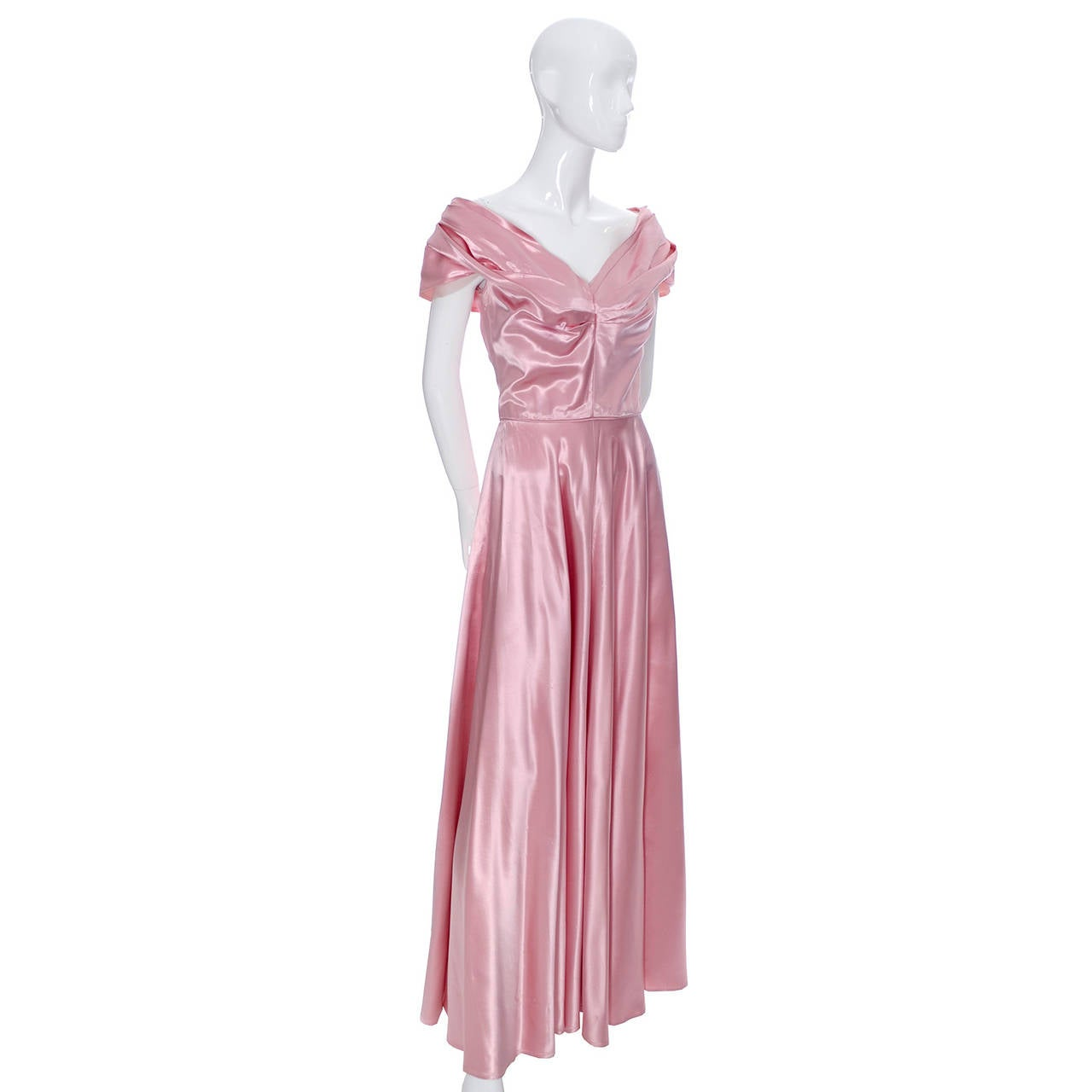 Women's Emma Domb Formal Vintage Dress 1940s Slipper Satin Pink Evening Gown Bridal For Sale