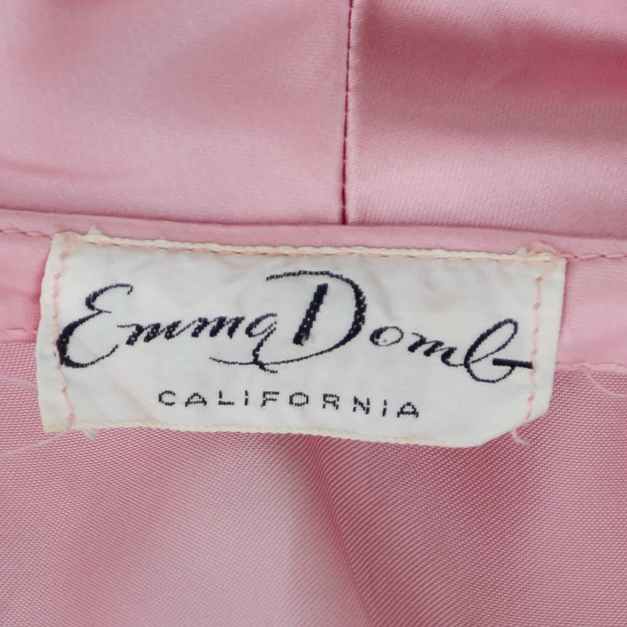 Emma Domb Formal Vintage Dress 1940s Slipper Satin Pink Evening Gown Bridal For Sale 2