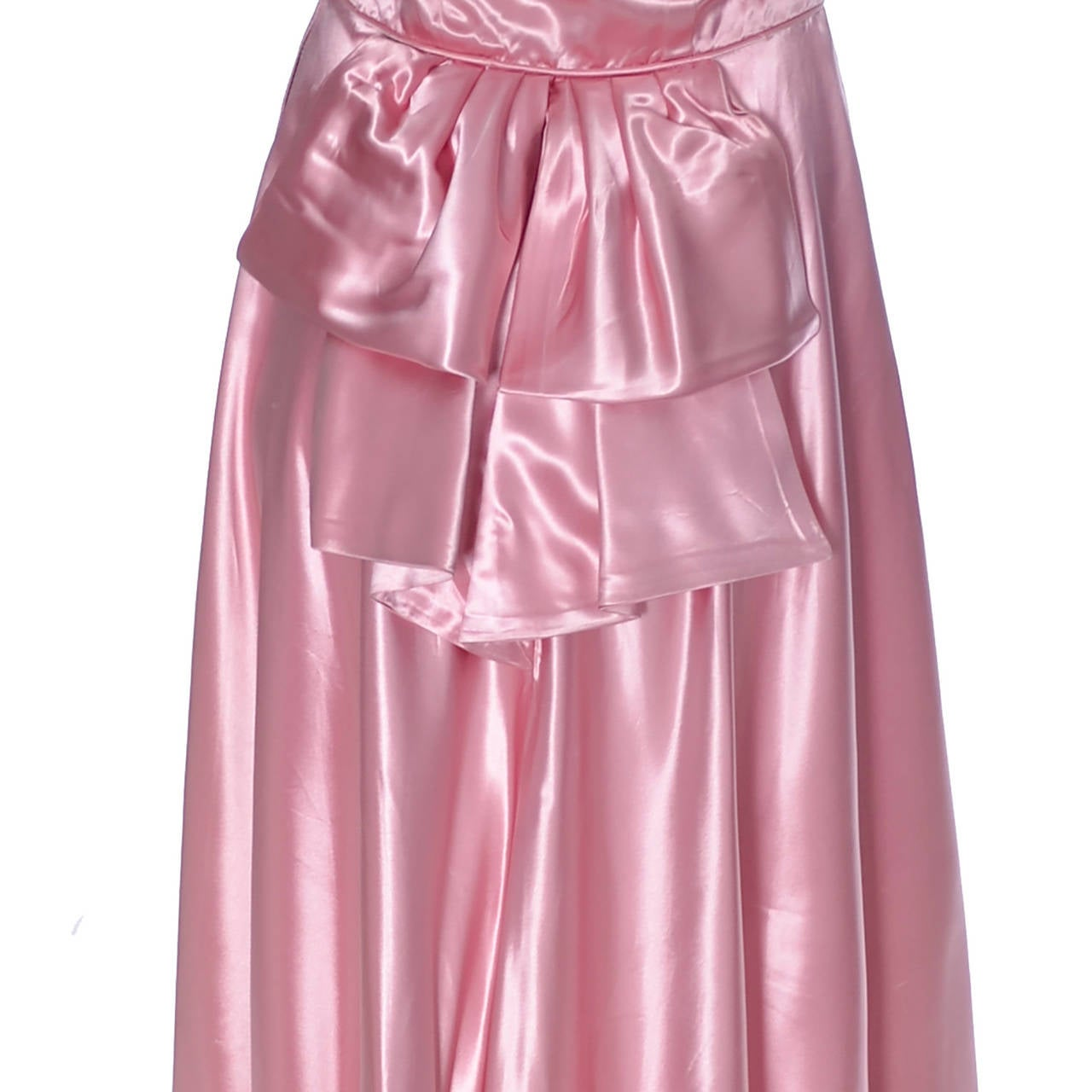 Emma Domb Formal Vintage Dress 1940s Slipper Satin Pink Evening Gown Bridal For Sale 1