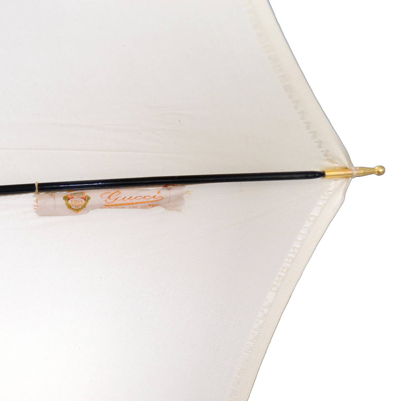 Gucci 1970s Vintage Umbrella Ivory Original Sleeve Italy 5