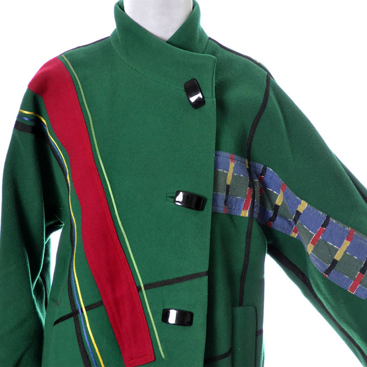 Koos Van Den Akker Vintage Coat Artisan Patchwork Collage Green Wool In Excellent Condition For Sale In Portland, OR