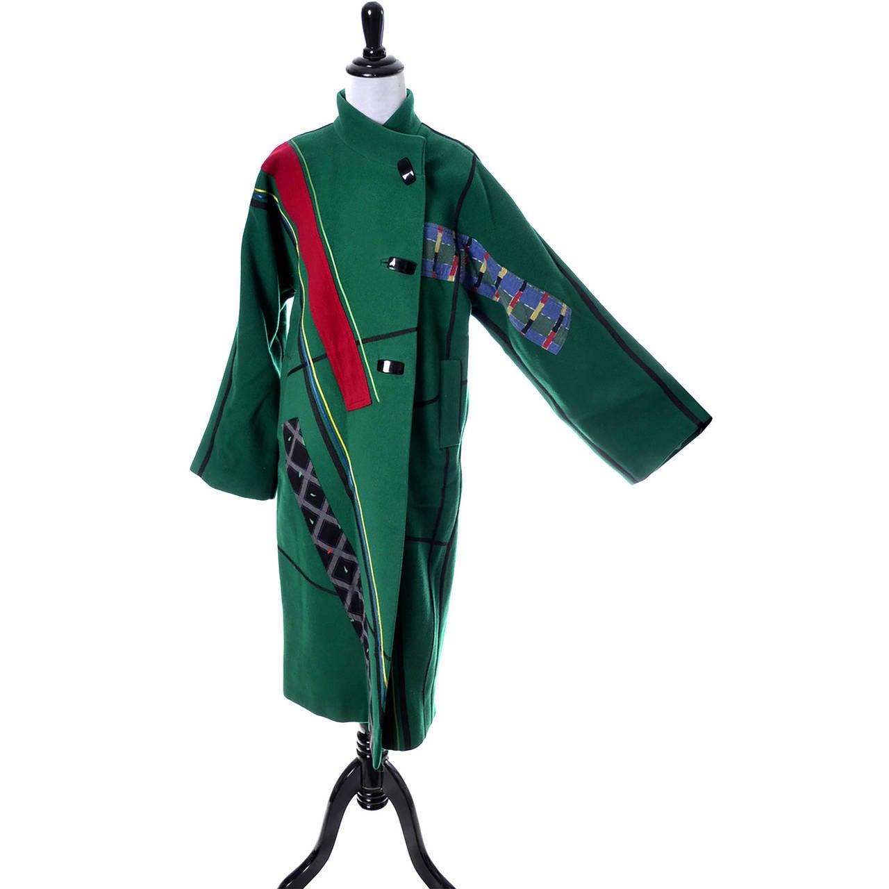 Koos Van Den Akker Vintage Coat Artisan Patchwork Collage Green Wool 2