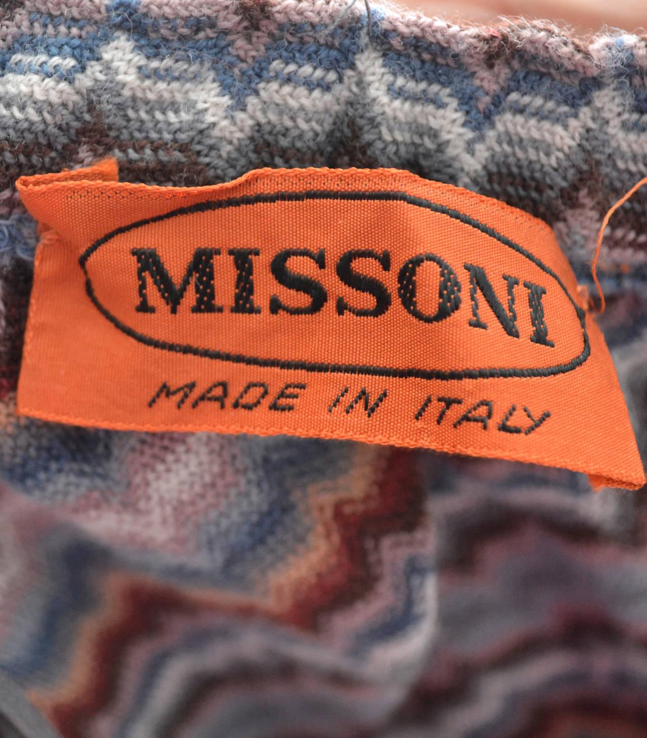 Missoni Italy vintage maxi skirt zig zag stripes 1970s 3