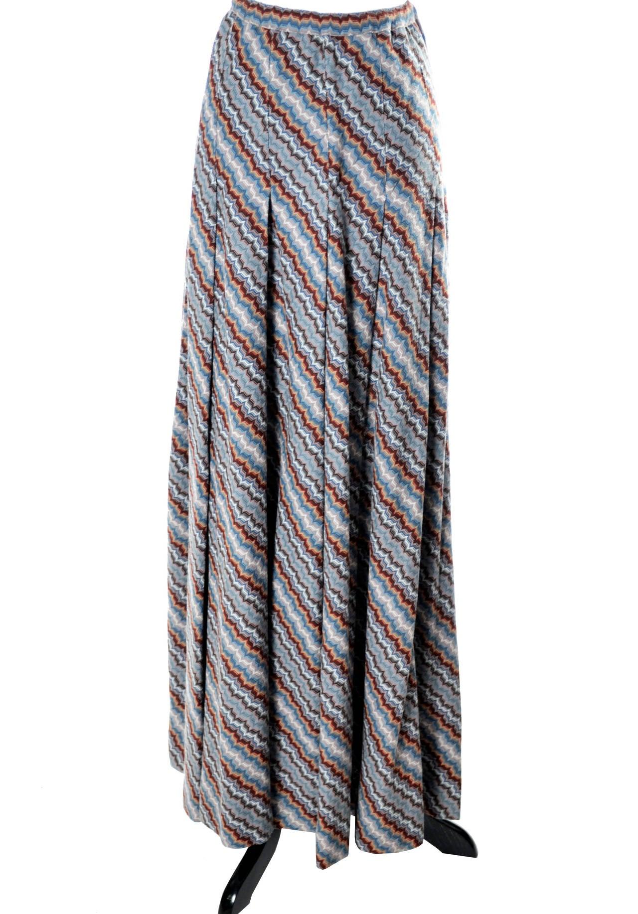 Missoni Italy vintage maxi skirt zig zag stripes 1970s 2