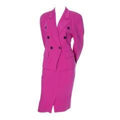 Escada Margaretha Ley Vintage Suit Pink Wool Skirt Blazer Bergdorf Goodman