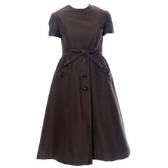 Chocolate Brown Geoffrey Beene 1960s Mod Vintage Dress Pockets Belt