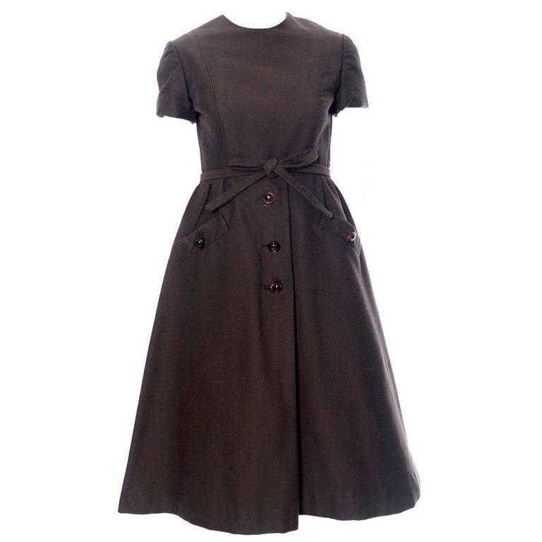 Chocolate Brown Geoffrey Beene 1960s Mod Vintage Dress Pockets Belt For Sale