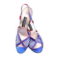 Mario Valentino Blue Red Metallic lame Vintage Shoes Never Worn 9B Italy